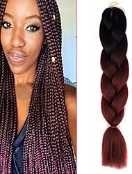 "1 Pack Black Ombre Reddish Brown Crochet 24"" Yaki Kanekalon Fiber 100g 2 Tone Jumbo Braids Synthetic Hair"