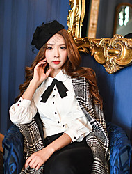 Women's Going out / Casual/Daily / Work Cute / Street chic / Sophisticated Spring / Fall Shirt,Solid Shirt Collar Long Sleeve White