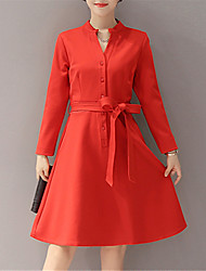 Fall Winter Women's Casual Formal Street A Line Dress Solid Color V Neck Knee Long Sleeve Dress