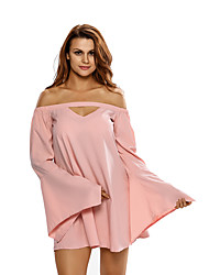 Women's Long Bell Sleeves Off Shoulder Cutout Swing Dress