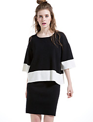 Women's Going out / Casual/Daily Simple Skirt Suits,Color Block Round Neck Long Sleeve Pink / Black Wool / Cotton / Polyester