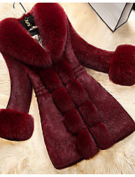 Women's Plus Size / Casual/Daily Simple Fur Coat,Solid Long Sleeve Red / White / Black Polyester