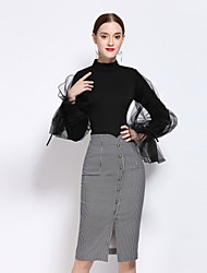 YZXH  Women's Casual/Daily Simple Fall T-shirt Skirt SuitsHoundstooth Stand Long Sleeve Gray Cotton