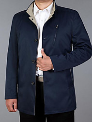 Men's Casual/Daily Vintage / Simple Trench Coat,Solid Shirt Collar Long Sleeve Spring / Fall Brown Cotton