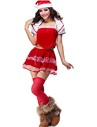 Christmas Costume/Holiday Halloween Costumes Red Solid Top / Skirt / Shawl / Hats Christmas Female Polyester