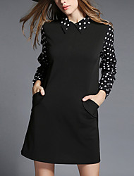 Women's Plus Size / Going out / Casual/Daily Simple / Boho / Cute Swing Dress,Solid / Print / Color Block Round Neck Above KneeLong