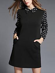 Feminino Bainha / Chifon Vestido,Formal / Trabalho / Tamanhos Grandes Simples / Fofo / Moda de Rua Sólido / Poá / ColoridoColarinho de