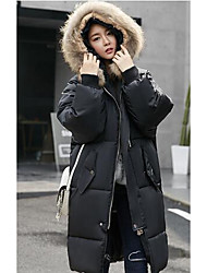 Women's Long Padded Coat,Simple Going out / Casual/Daily Solid-Cotton Without Filling Material Long Sleeve Hooded White / Black / Green
