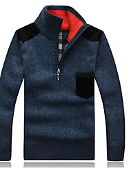 Men's Casual/Daily Simple Long Cardigan,Solid Blue / Red / Beige / Brown / Gray / Green Stand Long Sleeve Bamboo Fiber Winter Medium