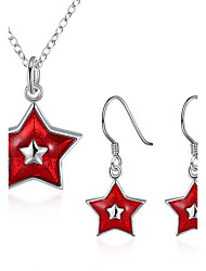 Women's Jewelry Set Necklace Earrings Five-pointed Star Christmas/Birthday/Party/Daily Fashion Enamel Process/Silver Plated Red/White 1Set Gift