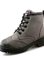 Women's Boots Spring Fall Winter Comfort Leather Casual Low Heel Lace-up Black Brown Gray