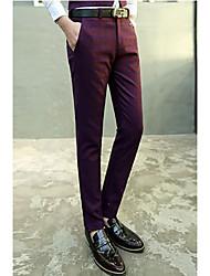 Hommes Droite / Mince Chino Pantalon,simple Sortie / Décontracté / Quotidien / Soirée / Cocktail Couleur Pleine Taille Normalefermeture