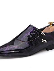 Для мужчин обувь Полиуретан Весна Осень Удобная обувь Туфли на шнуровке Шнуровка Назначение Повседневные Белый Черный Лиловый