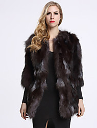 BF-Fur Style Women's Casual/Daily Sophisticated Fur CoatSolid Round Neck Long Sleeve Winter Black Fox Fur