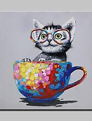 Pintada a mano Animal / Pop Pinturas de óleo,Modern Un Panel Lienzos Pintura al óleo pintada a colgar For Decoración hogareña