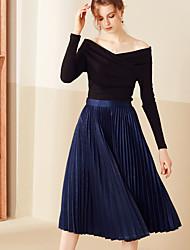 Damen Röcke,A-Linie einfarbigLässig/Alltäglich Einfach Hohe Hüfthöhe Midi Elastizität Polyester Micro-elastisch Riemengurte / Herbst