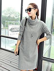 Tricot Robe Femme Sortie Décontracté / Quotidien simple,Couleur Pleine Col Arrondi Mi-long Manches Longues Coton Automne Taille Normale