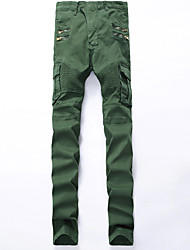 High Quality Army Green Ripped Jeans Men Fashion Patchwork Moto Jeans 2016 New Mens Pants Slim Fit Jeans Brand  Biker Denim Jeans