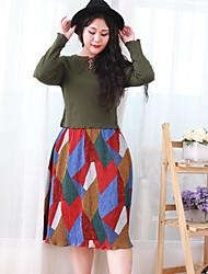 Damen Übergrössen Röcke,Schaukel GeometrischLässig/Alltäglich Einfach Mittlere Hüfthöhe Midi Elastizität Polyester Micro-elastisch Sommer