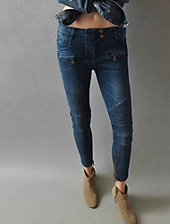 Women's Solid Blue Jeans Pants,Simple Fall