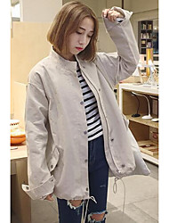 Women's Casual/Daily Simple Jackets,Solid Round Neck Short Sleeve Fall Black / Brown Cotton