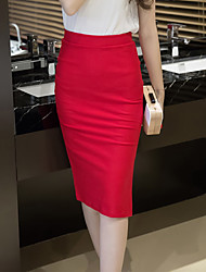 Mujer Faldas,Corte Bodycon Un Color Tiro Medio Noche Hasta la Rodilla Botón Poliéster Micro-elástica All Seasons