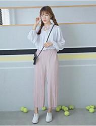 Feminino Solto Chinos Calças-Cor Única Casual Vintage Cintura Alta Elasticidade Algodão Micro-Elástico Com Molas