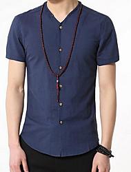 Men's Going out / Work Simple / Cute Summer Shirt,Solid Shirt Collar Short Sleeve Blue Rayon Medium