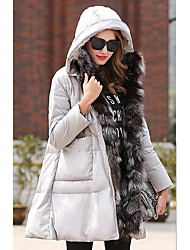 Women's Regular Down Coat,Cute Going out / Casual/Daily Solid-Polyester White Duck Down Long Sleeve Black / Gray
