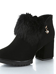 Women's Boots Winter Platform Leather Fur Casual Wedge Heel Black Green Walking