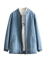 Vestes en Jean Femme,Broderie Sortie / Décontracté / Quotidien simple / Chic de Rue Manches Longues Col Ras du Cou Bleu Polyester / Nylon