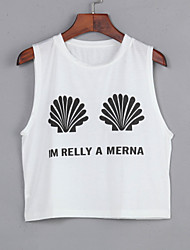 Women's Casual/Daily Sexy Summer T-shirt,Print Round Neck Sleeveless Cotton Opaque