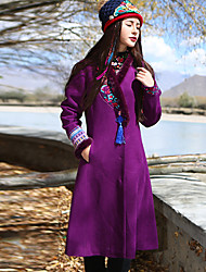 Our Story Women's Casual/Daily Boho CoatEmbroidered V Neck Long Sleeve Winter Purple Wool / Polyester