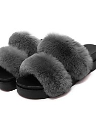 Women's Slippers & Flip-Flops Winter Others Suede Casual Platform Fur Black / Red / Gray Walking
