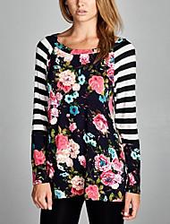 Damen Blumen Einfach Lässig/Alltäglich T-shirt,Rundhalsausschnitt Alle Saisons Langarm Schwarz Polyester Dünn