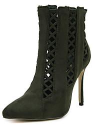 Women's Boots Spring / Fall / Winter Gladiator / Novelty Fleece Office & Career / Dress / Casual Stiletto Heel Zipper / Hollow-outBlack /