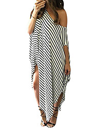 Women's Skew Neck Off-shoulder Striped Asymmetric Hem Maxi Dress