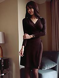Women's Formal Simple Trumpet/Mermaid Dress,Solid V Neck Above Knee Long Sleeve Purple Others Fall Winter High Rise Micro-elastic Medium