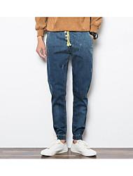 Hommes Ample Jeans Pantalon,Vintage Décontracté / Quotidien Couleur Pleine Taille Basse fermeture Éclair Coton Micro-élastique Sangle