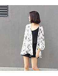 Women's Work Sexy Blouse,Polka Dot Halter Long Sleeve White / Black Cotton