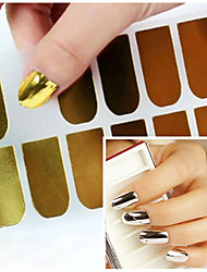 3sheet Gold Silver Black Smooth Nail Art Beauty Sticker Patch Foils Armour Adhesive Full Wraps DIY Manicure Nail Decorations