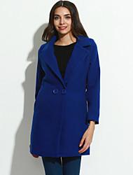 Feminino Casaco Informal / Casual Simples Inverno,Sólido Azul / Vermelho / Preto / Amarelo Algodão Lapela Chanfrada-Manga Longa Grossa