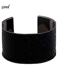 Brand Black Snake Serpentine pattern leather High Quality Cuff Bangle for Women Christmas Gift BL152220