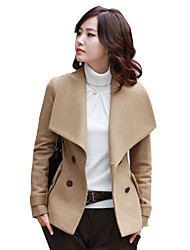Women's Casual Work Simple Slim Double Breasted Coat Solid Shawl Lapel Long Sleeve Spring / Autumn