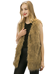 Women's Going out / Casual/Daily / Beach Vintage / Simple / Street chic Jackets,Solid V Neck Sleeveless Spring / Fall Yellow Faux Fur