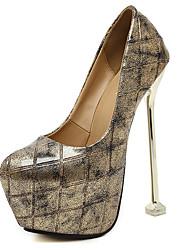 Damen-High Heels-Kleid-Kunststoff-Stöckelabsatz Plateau-Plateau-Schwarz Gold