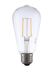 2W E26 Lâmpadas de Filamento de LED ST19 2 COB 220 lm Branco Quente Regulável / Decorativa AC 110-130 V 1 pç