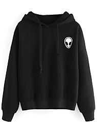 Women's Casual/Daily Simple Regular HoodiesSolid Black / Gray Hooded Long Sleeve Polyester All Seasons Medium