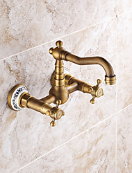 Kitchen Faucets  Antique / Traditional / Art Deco / Retro with Antique Brass Two Handles Two Holes  Feature for