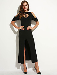 Women's Street chic Solid Sheath Dress,Fashion Cut Out Off Shoulder Backless Split V Neck Maxi Polyester / Nylon